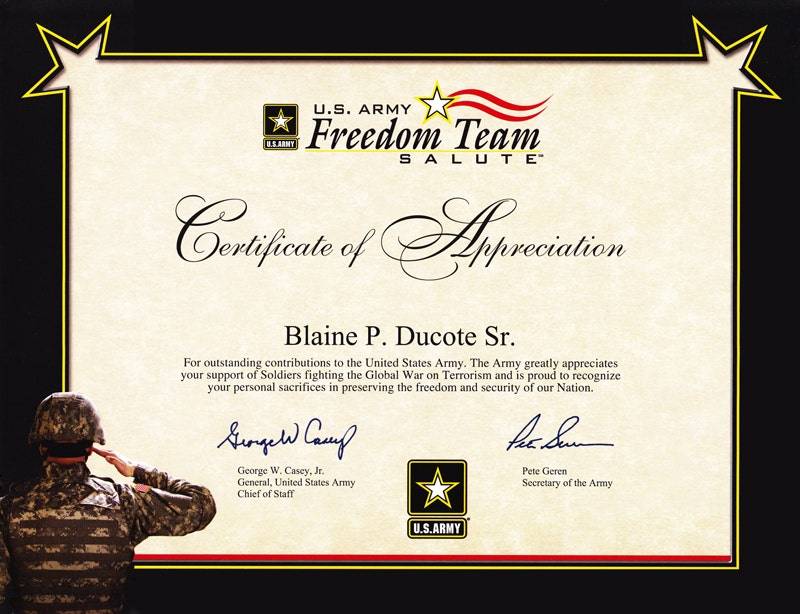 6 army appreciation certificate templates pdf docx free freedom team salute appreciation certificate example yadclub Images