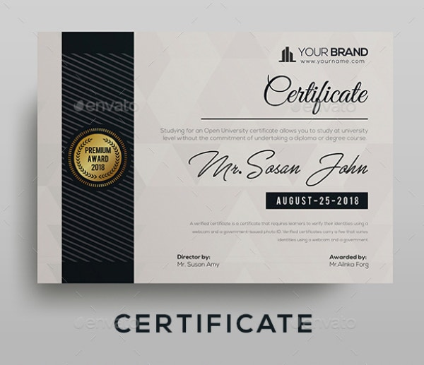 fully clean certificate template