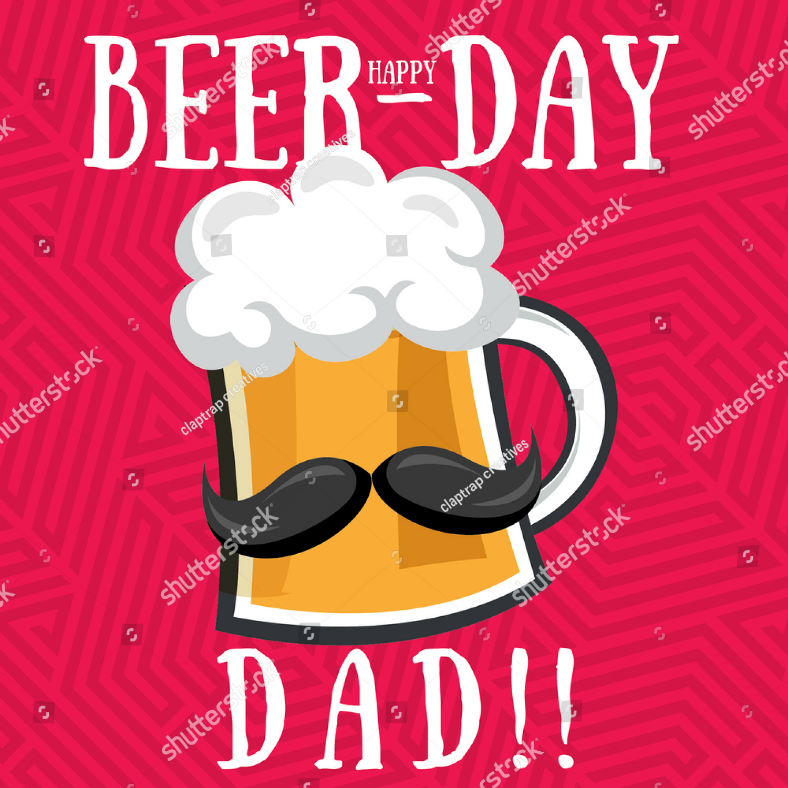 Funny Dad Beer-Day Card Template