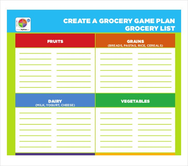 game plan grocery list template