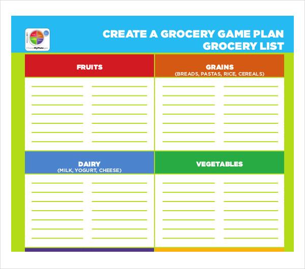 10 blank grocery list templates pdf doc xls free premium