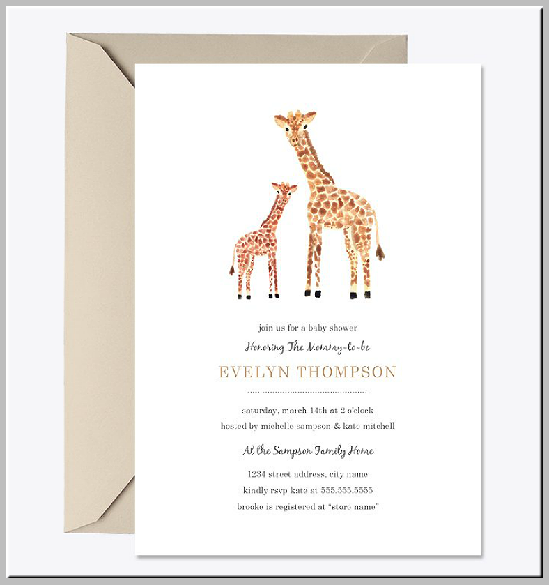 Giraffe Illustration Baby Shower Invitation