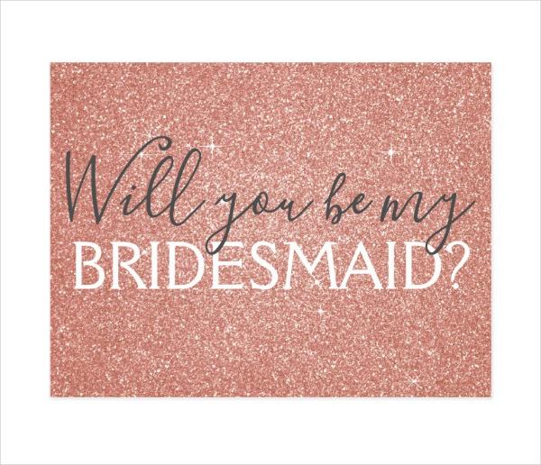 Glitter Bridesmaid Postcard Design