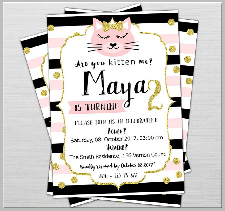 Glittery Kitty Birthday Party Invitation Template