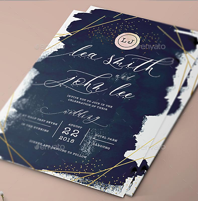 glittery wedding invitation format template 788x803