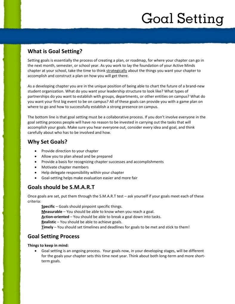 Goal Setting and Planning Sample