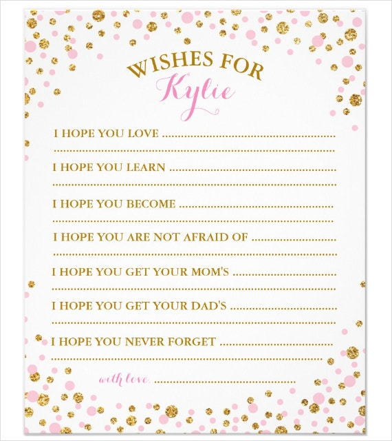 Gold Glitters Baby Wishes Card Template