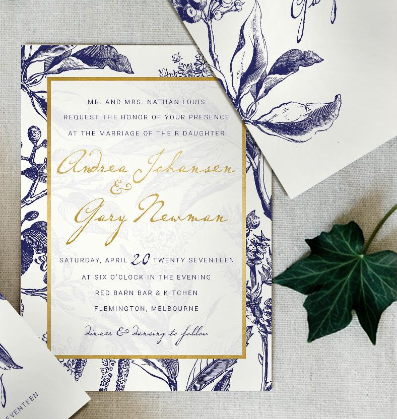 gold navy wedding invitation format 788x832