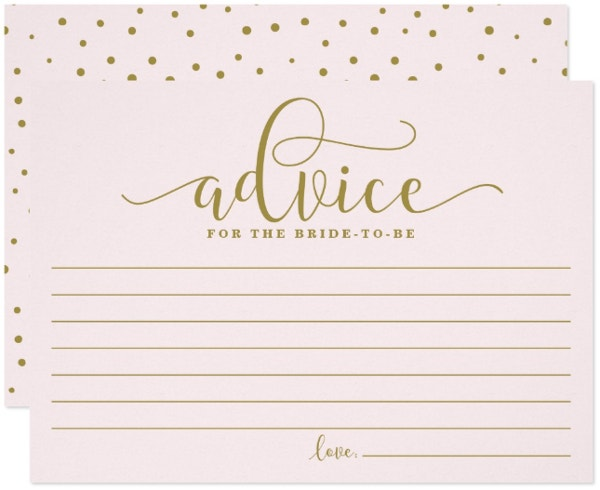 Gold and Pink Advice Card Template