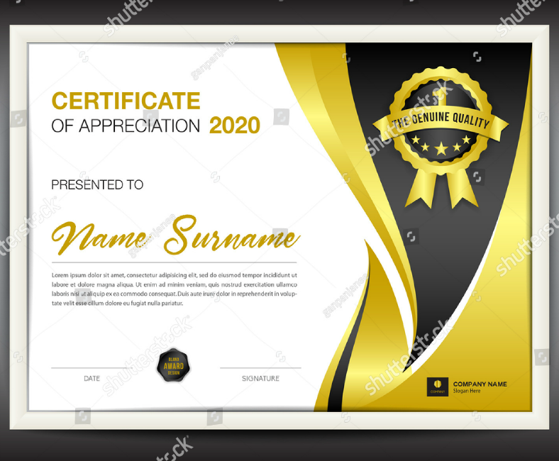 golden certificate of appreciation flyer template 788x650