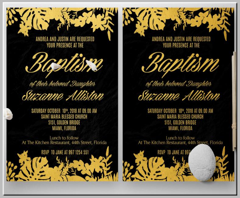 golden florist baptism invitation template 788x650