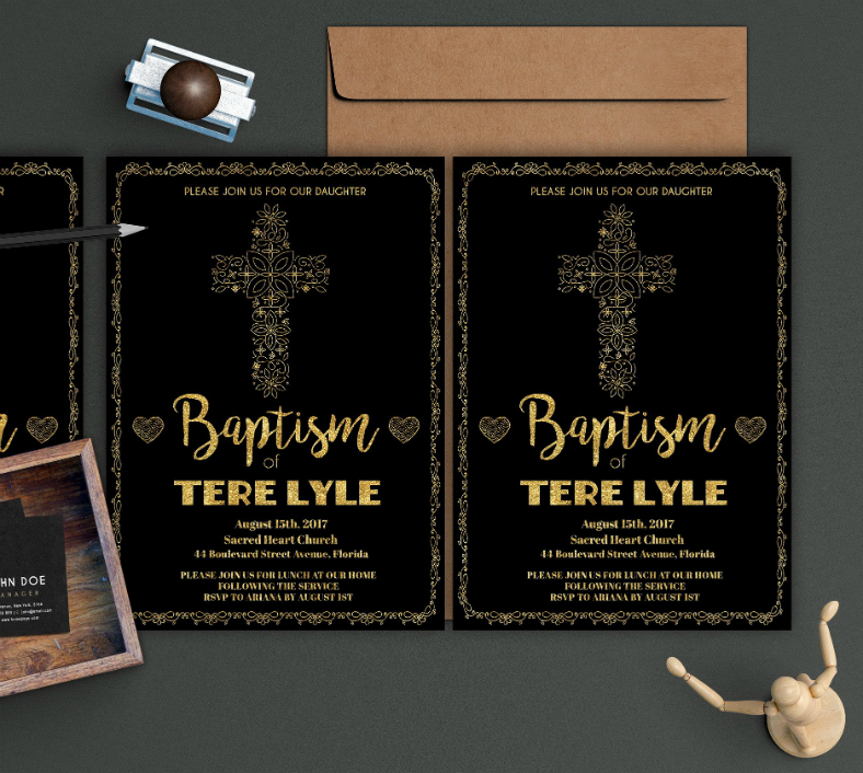 Golden Foil Baptism Invitation Template