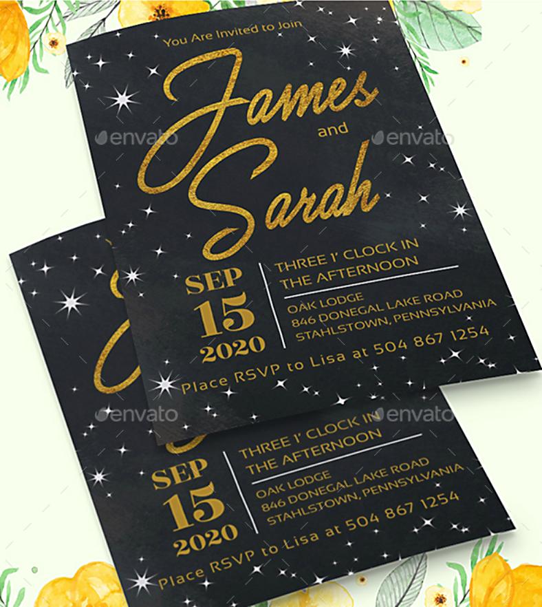 golden typographic wedding invitation format 788x882