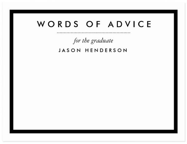 graduation advice card template