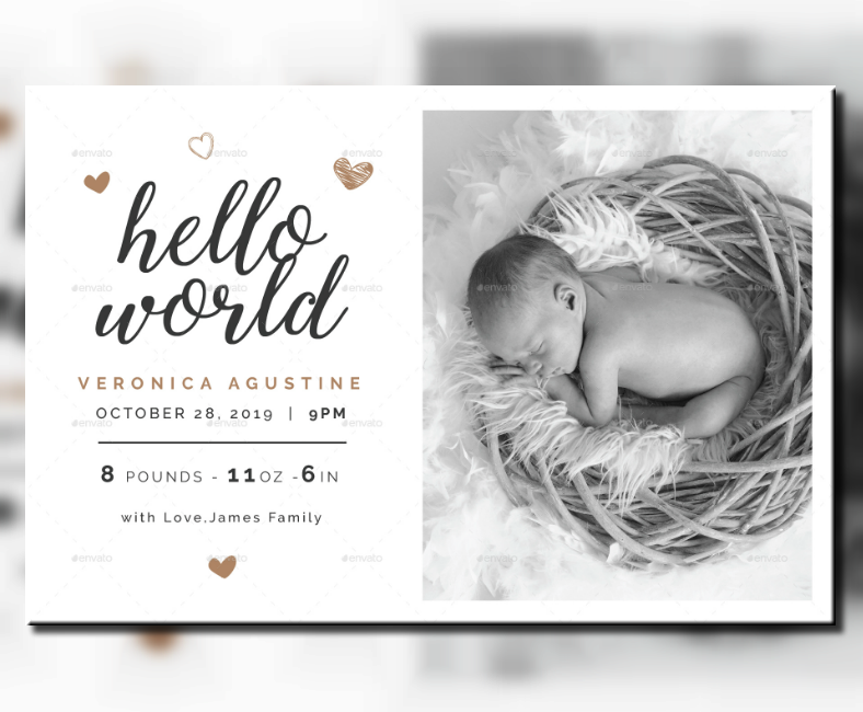 grayscale baby announcement postcard template 788x650