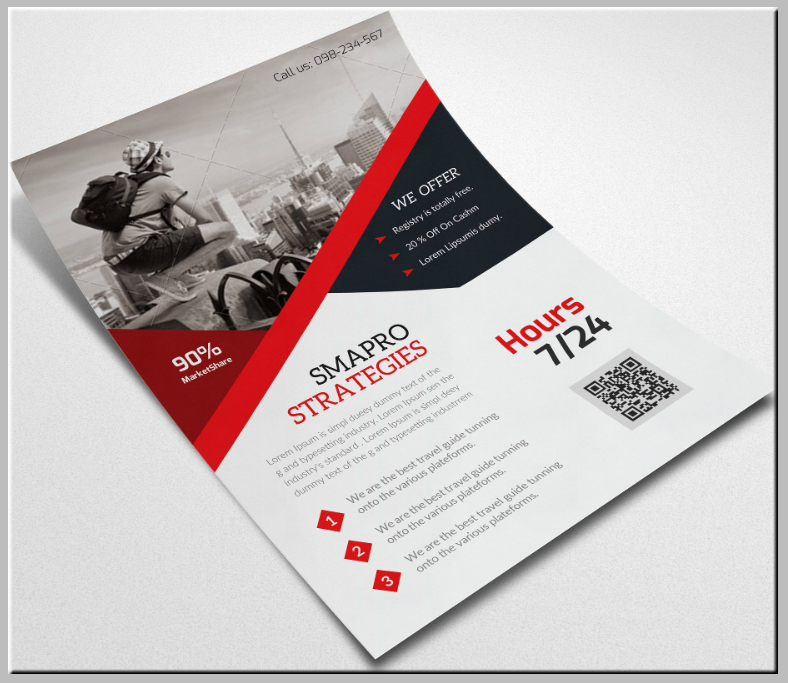 grayscale themed job flyer template 788x683