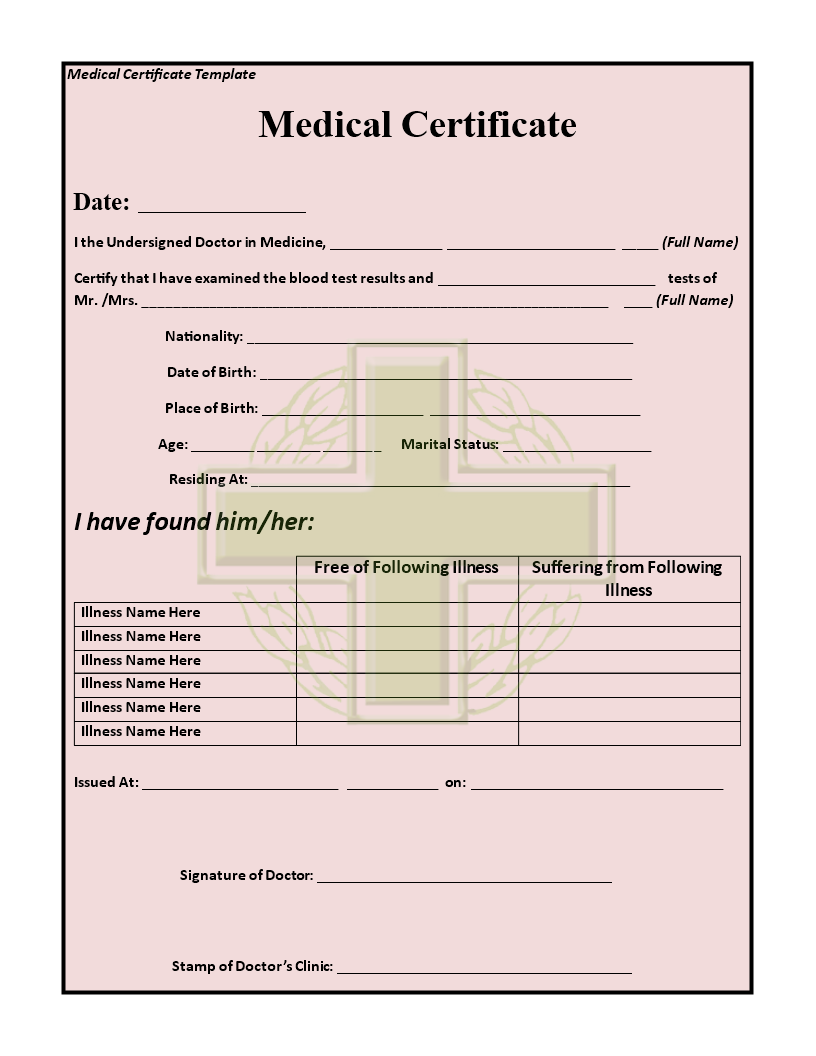 green cross medical leave certificate template