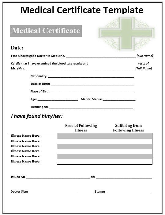 green cross sample medical certificate