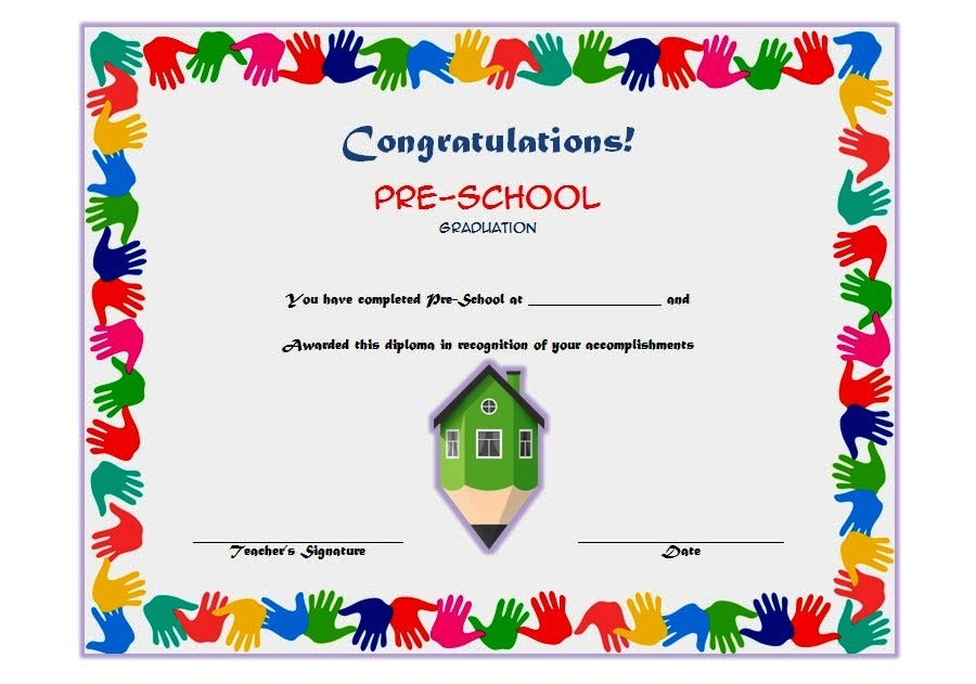 Green Pencil Preschool Certificate Template
