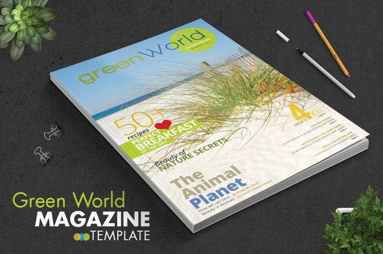 green world magazine template 788x524