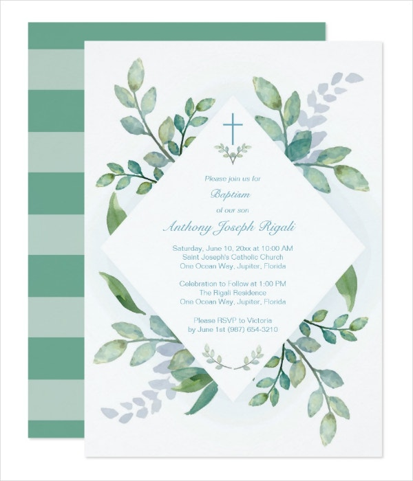 Greenery Christening Invitation Template