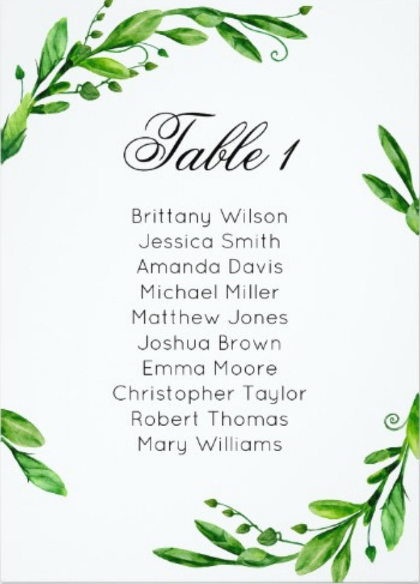 greenery-wedding-seating-chart-summer-table-plan-placard