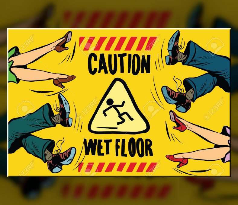 Hand Drawn Caution Wet Floor Sign Template