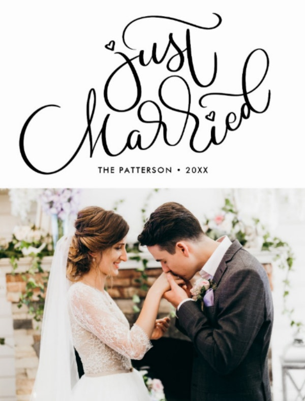 Hand Lettered Just Married Postcard Design