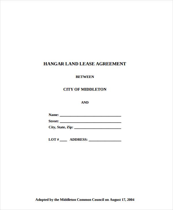 hangar land lease agreement