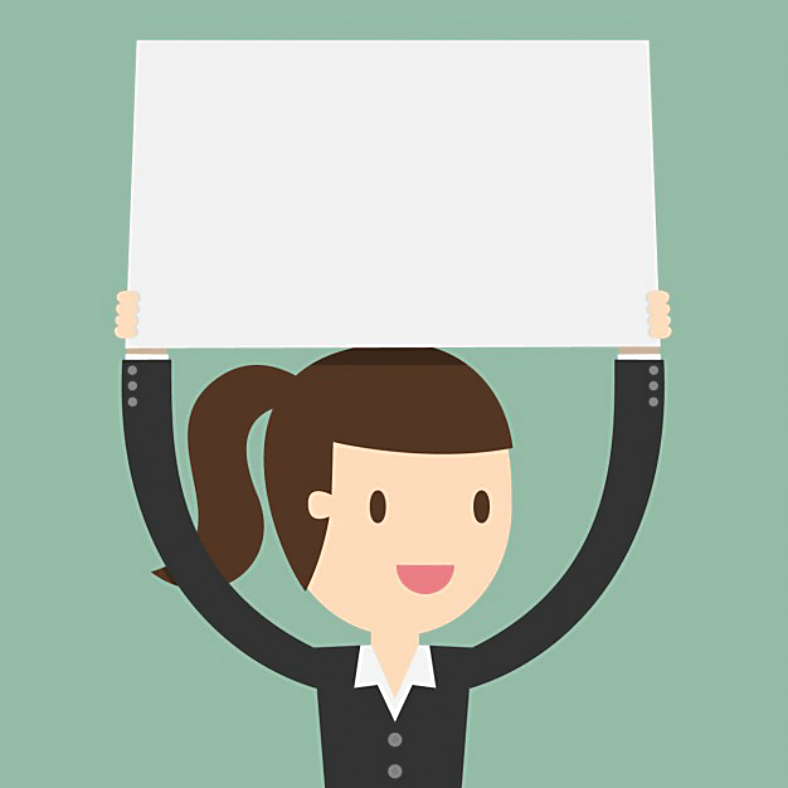 Happy Woman Holding Placard Template