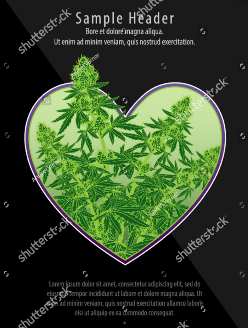 Heart Cannabis Illustration Flyer Template