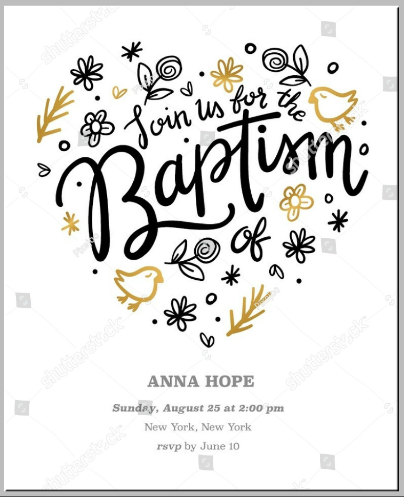 Heart Elements Baptism Invitation Template