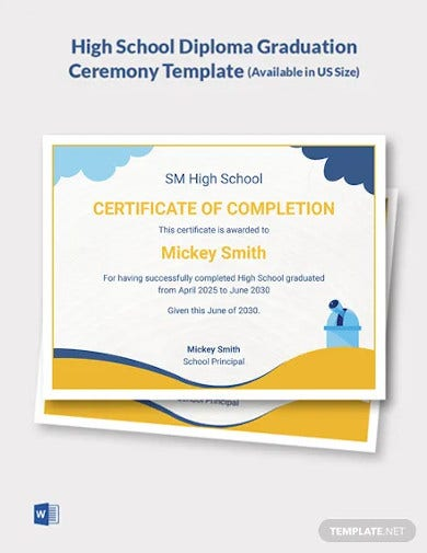 high school diploma graduation ceremony template