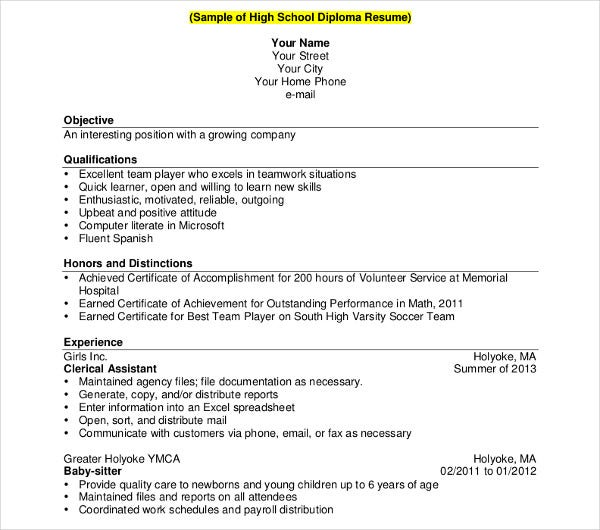 10  high school student resume templates