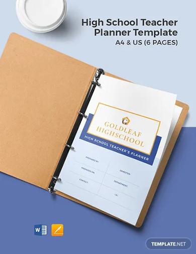 high school teacher planner template
