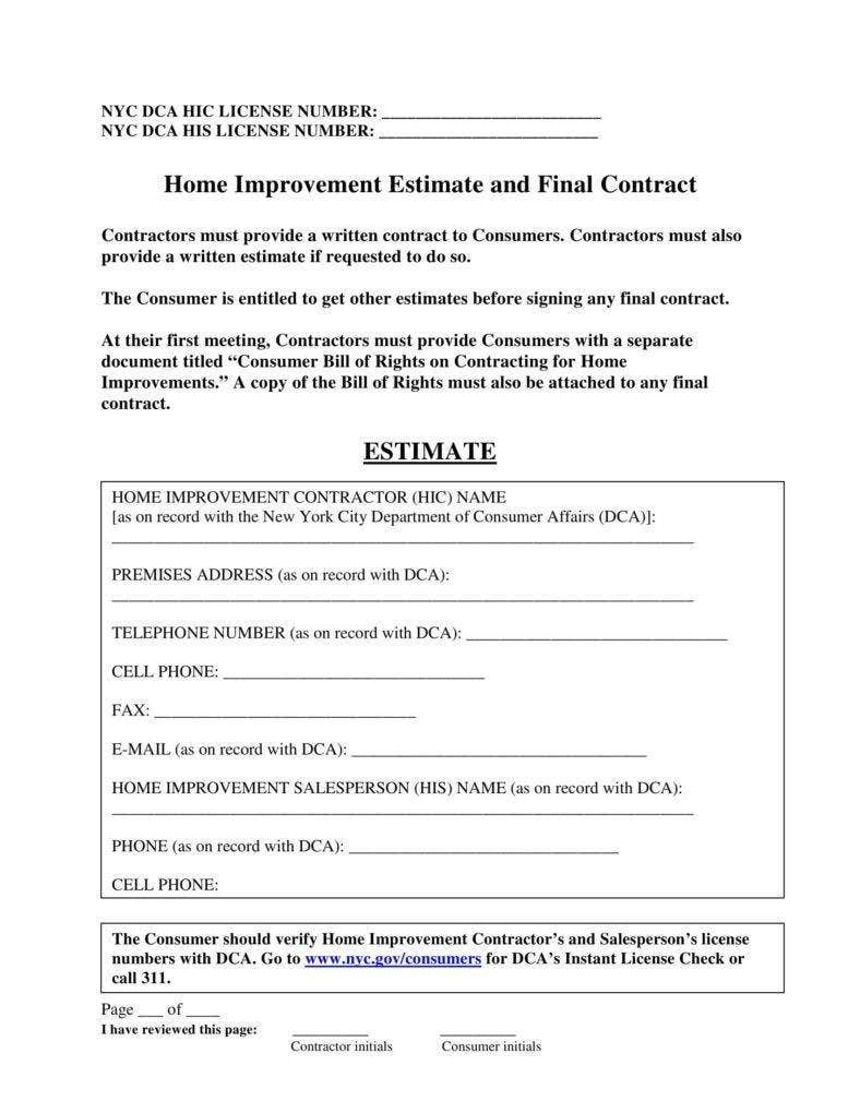 Home Improvement Estimate Template