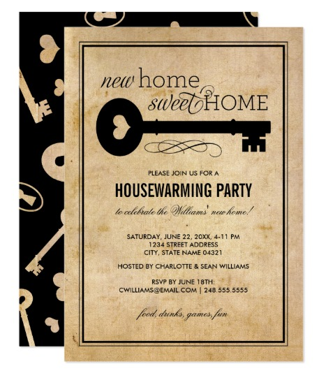 home sweet home housewarming invitation card
