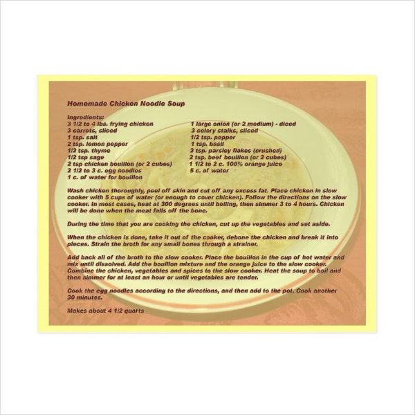 Homemade Recipe Postcard Template