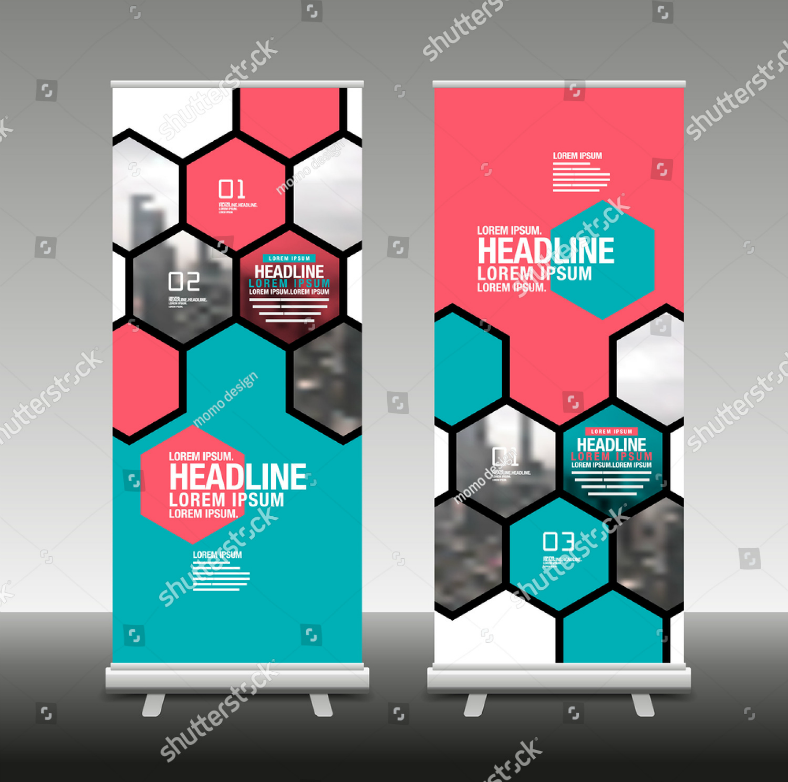 Honeycomb Pattern Rollup Banner Template
