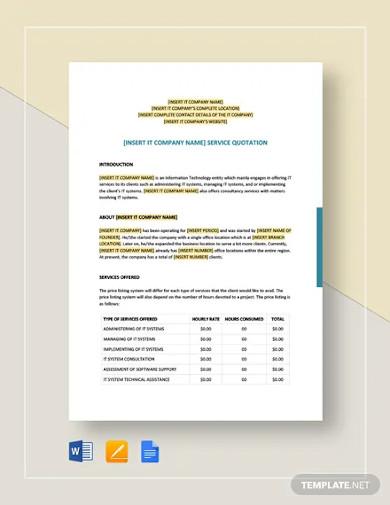 it service quotation template