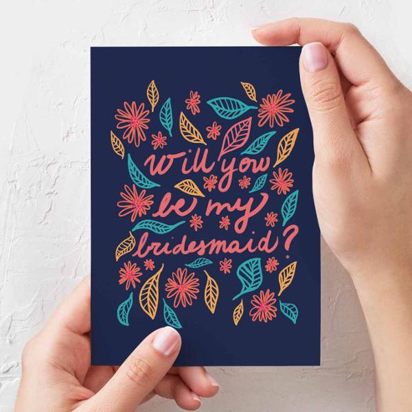 Illustrated Bridesmaid Postcard Template