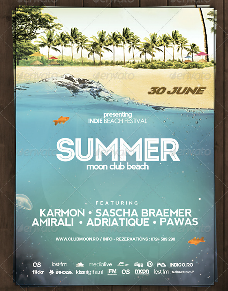 Indie Beach Summer Party Flyer