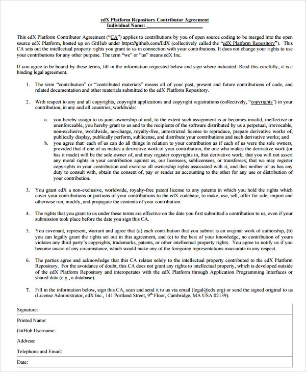 individual contributors agreement