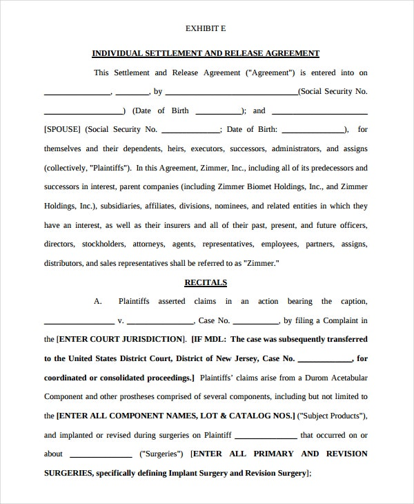 individual settlement and release agreement