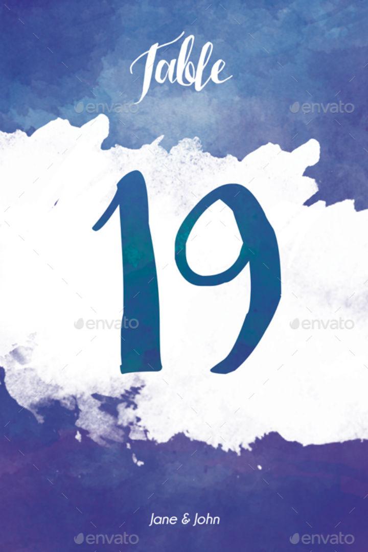 inksplat blue wedding table number card template