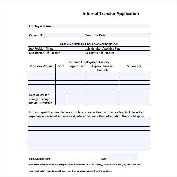 Internal Transfer Application Form