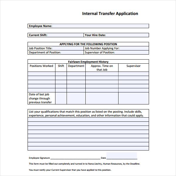 4 internal application form templates pdf free premium templates