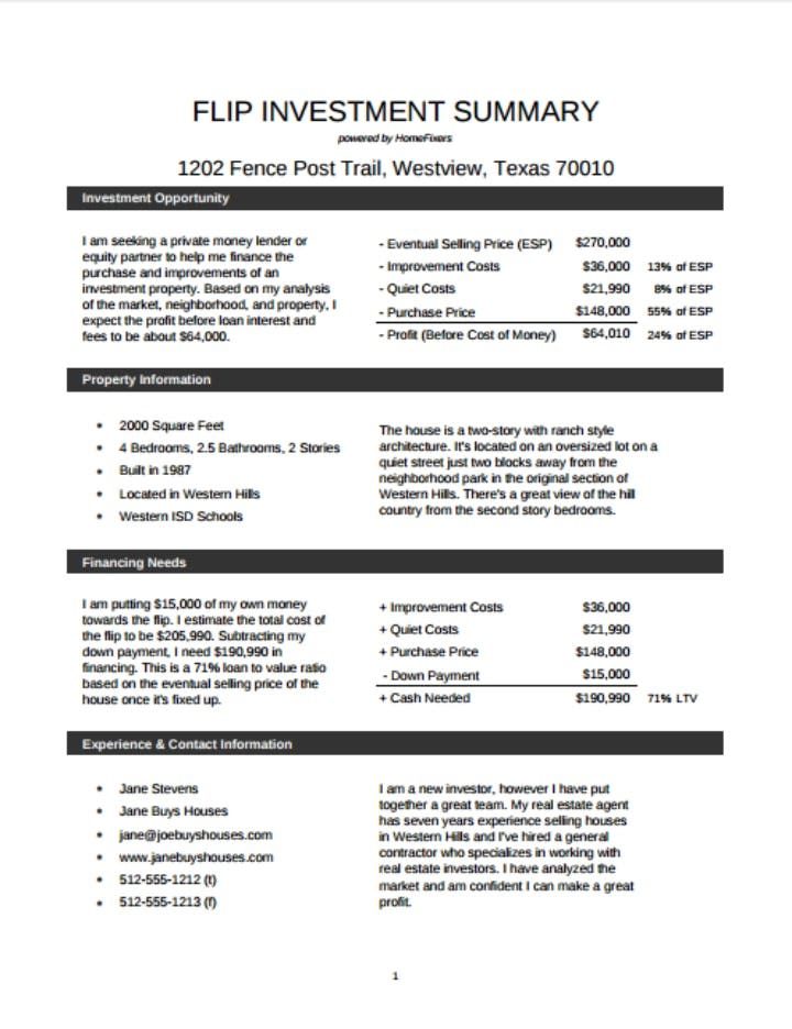 investment-sample-summary-template