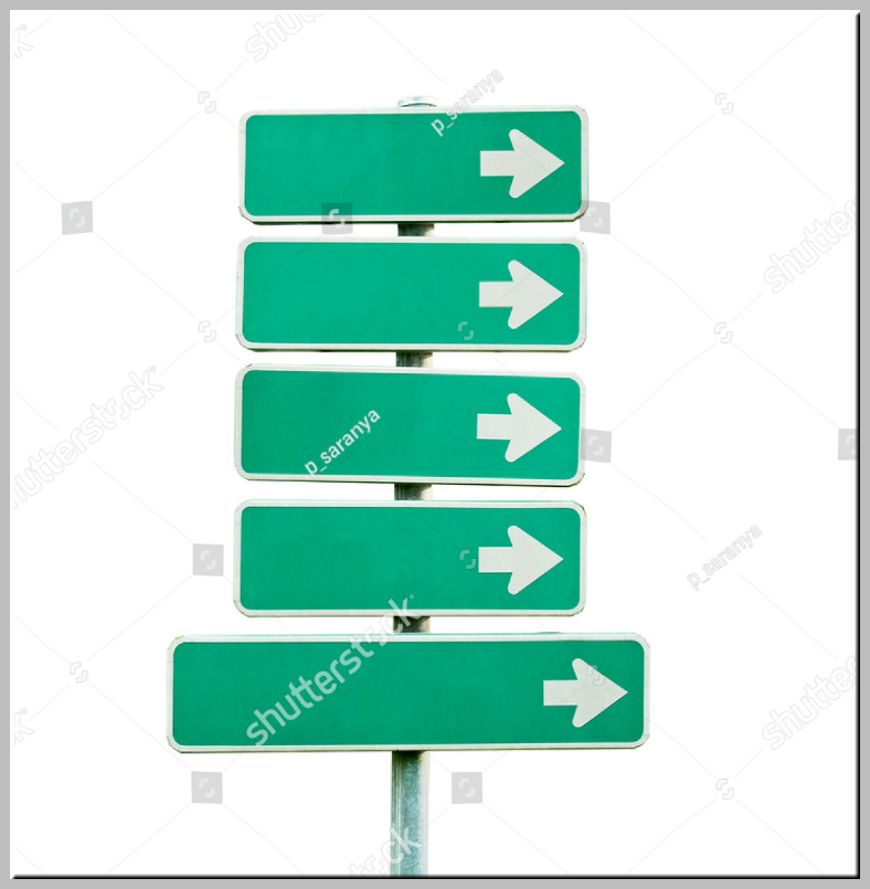 Isolated Green Right Direction Signs Template