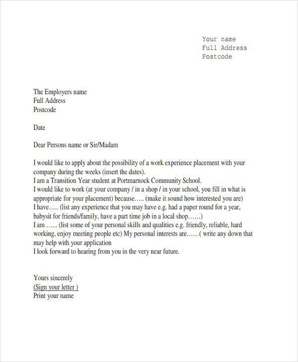 job experience letter template
